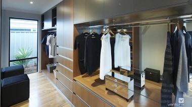 Master ensuite design. - The Macquarie Display Home boutique, closet, furniture, room, wardrobe, gray, black