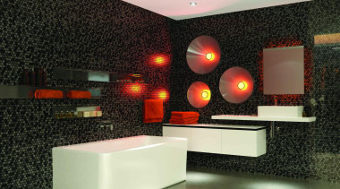 Caroma Cube Back to Wall Bath: A bath ceiling, floor, flooring, interior design, lighting, product design, table, wall, black