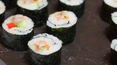 Sushi rolls on Caesarstone Emperadoro - At Mantell's asian food, california roll, cuisine, dish, food, gimbap, japanese cuisine, sushi, black, white
