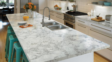 Clean and classic, Bianca Luna quartzite is distinguished countertop, floor, flooring, granite, kitchen, table, gray