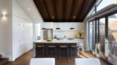 The new kitchen storage frees up space and architecture, ceiling, daylighting, house, interior design, real estate, gray, brown