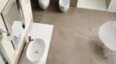 Lipica Visone bathroom tiles - Natural Stone Range bathroom, bathroom sink, bidet, ceramic, floor, flooring, interior design, plumbing fixture, product design, property, room, sink, tap, tile, toilet seat, gray