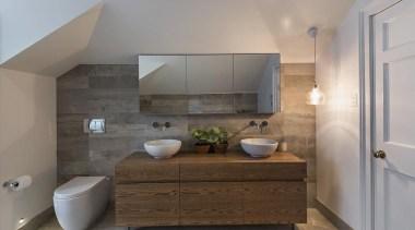 Winner – myTrends Innovative Bathroom Award – Winner architecture, bathroom, floor, home, interior design, real estate, room, sink, gray