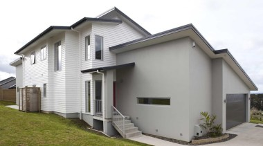 View from outside - Exterior - building | building, elevation, facade, home, house, property, real estate, residential area, siding, white, gray