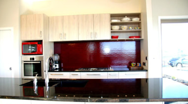 red glass splashback in Cotswald glass - red cabinetry, countertop, interior design, kitchen, room, white