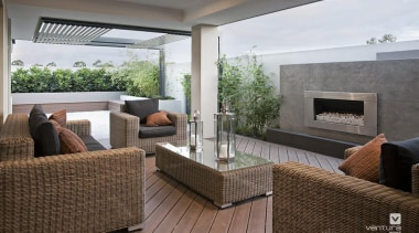 Alfresco design. - The Providence Display Home - floor, house, interior design, living room, property, real estate, gray