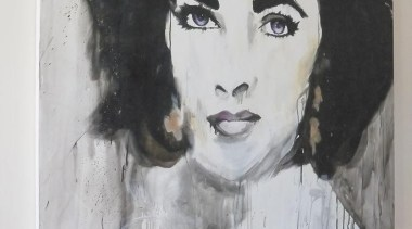 Elizabeth Taylor has locked her gaze at you! art, artwork, drawing, modern art, paint, painting, portrait, watercolor paint, gray