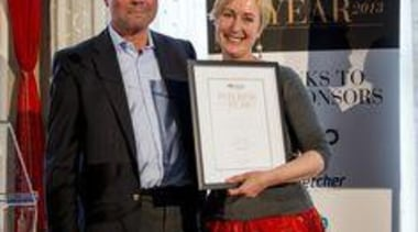 Richard Pollington with Highly Commended Kitchen recipient Fiona award, public relations, socialite, black