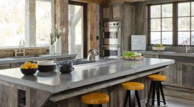 Little bit more country little less industrial but beam, countertop, furniture, interior design, kitchen, table, gray