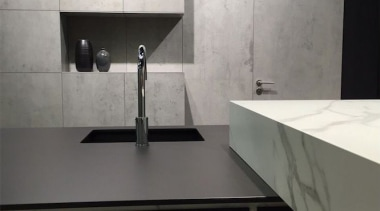 Beton Calcatta Kitchen bathroom sink, countertop, floor, flooring, glass, interior design, kitchen, product design, sink, tap, tile, wall, black, gray, white