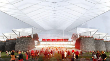 Estadio Diablos is the new stadium design for architecture, pavilion, sport venue, structure, white