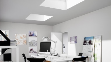 Bringing in natural light and fresh air, skylights ceiling, daylighting, furniture, interior design, light fixture, lighting, office, table, white, gray