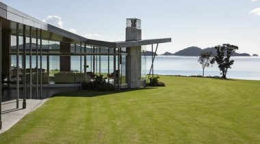 Fold House, Bay of Islands, New ZealandBossley Architects architecture, condominium, estate, grass, house, lawn, property, real estate, brown, white