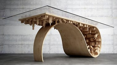 Designer Stelios Mousarris has envisioned a wave-like coffee coffee table, furniture, product design, table, wood, white, gray