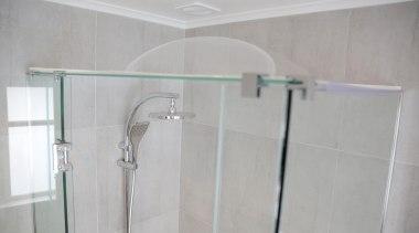 6.jpg - bathroom | glass | plumbing fixture bathroom, glass, plumbing fixture, product, product design, property, room, shower, tap, tile, gray