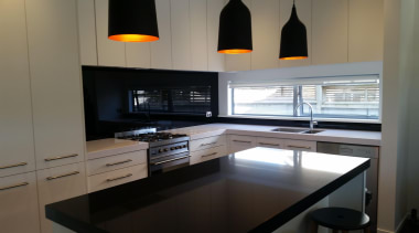 Black Standard Glass Splashback - Black - cabinetry cabinetry, countertop, interior design, kitchen, room, under cabinet lighting, gray, black