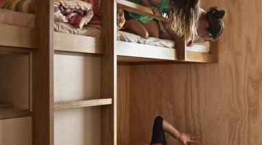 Coromandel, New Zealand - Studio 19 Onemana Bach bed, bunk bed, furniture, product, room, shelf, shelving, brown