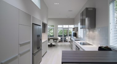 A clean and neutral colour pallet creates a architecture, countertop, daylighting, house, interior design, kitchen, real estate, gray