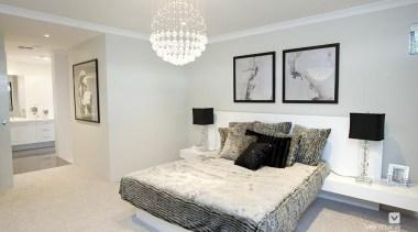 Master ensuite design. - The Odyssey Display Home bed frame, bedroom, ceiling, estate, floor, home, interior design, living room, property, real estate, room, wall, gray