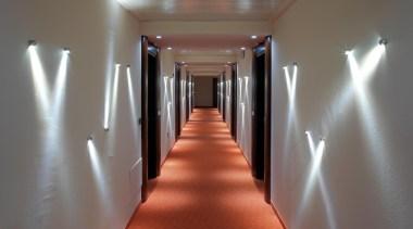 LED Lights - aisle | ceiling | daylighting aisle, ceiling, daylighting, floor, flooring, hall, interior design, light, lighting, wood, gray, red