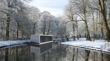 Coodo is a German mobile home modular system canal, freezing, home, real estate, reflection, snow, tree, water, waterway, winter, gray, black