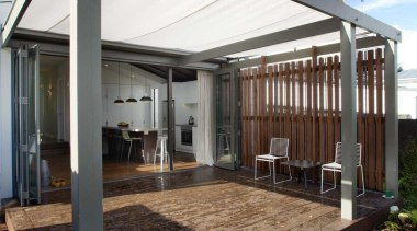 The pergola can be covered ensuring it is facade, house, real estate, roof, structure, black, white