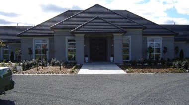 Generously proportioned plaster home built in Canterbury by asphalt, cottage, elevation, estate, facade, home, house, property, real estate, residential area, roof, siding, suburb, window, gray, black, white