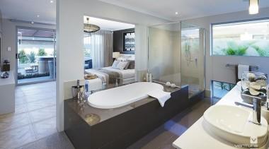 Ensuite design. - The Sanctuary Display Home - architecture, bathroom, estate, home, interior design, real estate, room, gray