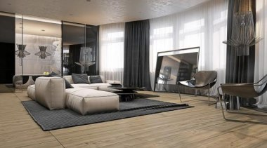 spacious comfortable livingroom - Masculine Apartments - ceiling ceiling, floor, flooring, furniture, hardwood, interior design, laminate flooring, living room, lobby, room, tile, wall, wood, wood flooring, gray