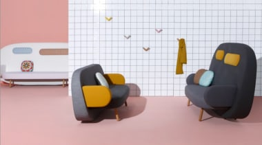A playful mix of shapes, colours and textures chair, design, flightless bird, floor, furniture, interior design, product, product design, table, pink, white