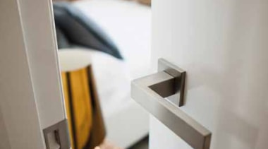 LSQIV - Solid Lever Handle on Rose with floor, flooring, furniture, home, house, interior design, room, table, wood, gray