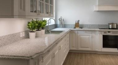 Caesarstone Classico Atlantic Salt - Caesarstone Classico Atlantic cabinetry, countertop, cuisine classique, floor, flooring, granite, interior design, kitchen, room, gray