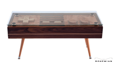 Game on! This retro-styled coffee table is a coffee table, desk, furniture, product design, table, white