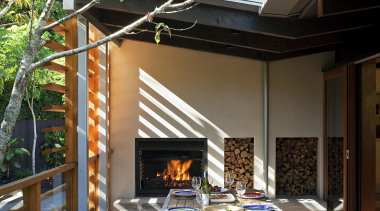 Remuera, Auckland - Glade House - hearth | hearth, home, interior design, living room, outdoor structure, patio, real estate, window, black