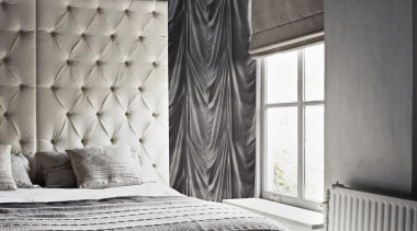 Caravaggio Range - Caravaggio Range - bed | bed, bed frame, bed sheet, bedroom, black, black and white, curtain, floor, furniture, interior design, mattress, monochrome photography, room, textile, wall, window, window covering, window treatment, wood, black, gray