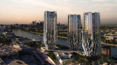 'Grace on Coronation' is a design by British-Iraqi bird's eye view, building, city, cityscape, condominium, marina, metropolis, metropolitan area, mixed use, residential area, sky, skyline, skyscraper, tower block, urban area, urban design, black, white