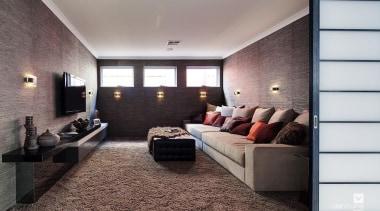 Home theatre design. - The Haven Display Home ceiling, floor, flooring, interior design, real estate, room, gray, black