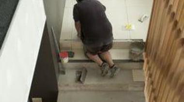 Installation of Naturali travertino avorio on floors. floor, flooring, hardwood, stairs, wood, wood flooring, wood stain, white, gray