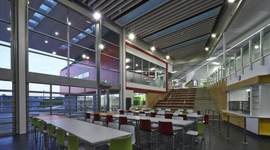 MAESTRO EDUCATION SENIOR AWARD  Bold colour choices architecture, cafeteria, ceiling, daylighting, institution, interior design, leisure centre, mixed use, black, gray