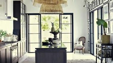 Kitchen love - high celling, huge light pendants, ceiling, floor, furniture, interior design, lobby, table, white