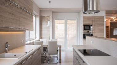 Silestone Kitchen - Coral Clay - Suede - cabinetry, countertop, cuisine classique, floor, flooring, interior design, kitchen, real estate, room, wood flooring, gray