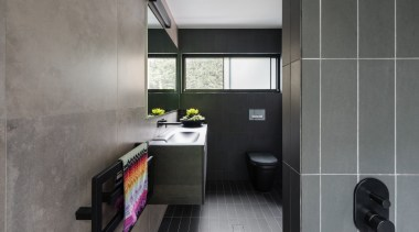 Bijl Architecture - TIDA AUS 2017 – Architect-designed architecture, bathroom, bathroom accessory, floor, interior design, product design, room, tile, gray, black