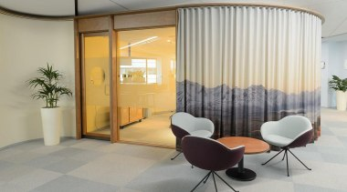 MERIT WINNERGenesis Energy (2 of 4) - Hays ceiling, floor, interior design, lobby, office, window, window covering, window treatment, gray