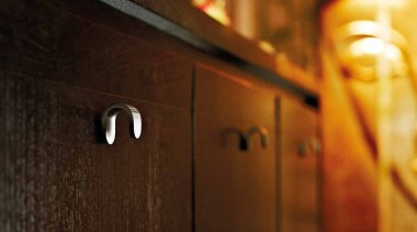 TB20M - Solid Cabinet Knob. Satin Stainless Steel. light, lighting, wood, brown
