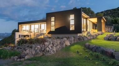 ADNZ Waikato Region Award Winner for Addition and architecture, cottage, estate, facade, home, house, landscape, property, real estate, terrain, villa, black