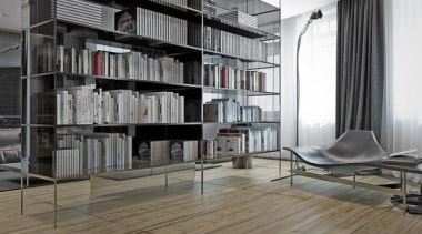 floor to ceiling shelves - Masculine Apartments - bookcase, floor, furniture, interior design, shelf, shelving, gray, black