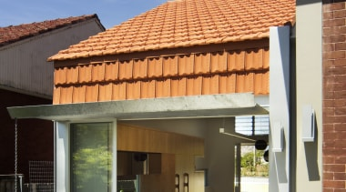 Monier Terracotta Marseille Tiles as a vertical feature architecture, facade, home, house, real estate, residential area, roof