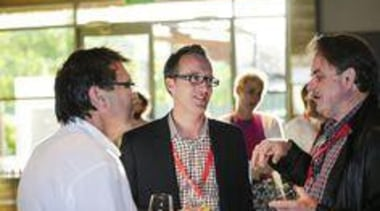 Laminex NZ's Murray Christensen & Jesse Staines with communication, event, socialite, white