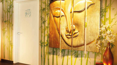 TB100 - Solid Lever Handle on Concealed Rose. art, flower, interior design, modern art, mural, wall, yellow, orange, brown
