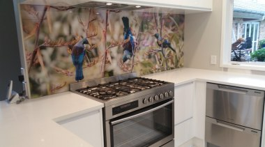 Printed Glass Splashback. - Westmere - countertop | countertop, home appliance, kitchen, room, gray